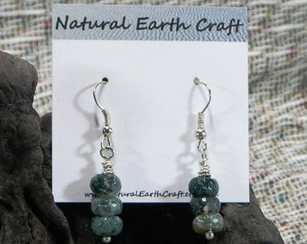 Green faceted India agate earrings semiprecious stone jewelry packaged in a colorful gift bag 2287 B F G