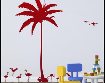 Huge Coconut tree, Palm Tree with many flamingos around and flying, toucans ideal for kids bedroom, nursery