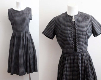 1950s Plaid Cotton Day Dress 2 Piece / Vintage Plaid Dress / 50s Cotton Dress and Matching Jacket / Size S/M