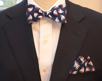 Pocket Square and Bow Tie (self-tie) in classic navy with coral and white sail boats