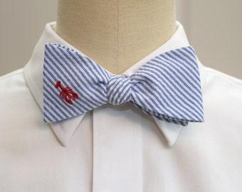 Men's Bow Tie, classic blue seersucker, red lobster embroidery, wedding party tie, groom bow tie, groomsmen gift, summer bow tie, self tie