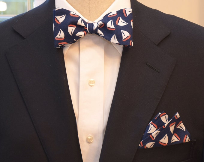 Men's Pocket Square & Bow Tie set in navy, coral, white sail boats, wedding party wear, groomsmen gift, groom bow tie set, men's gift set