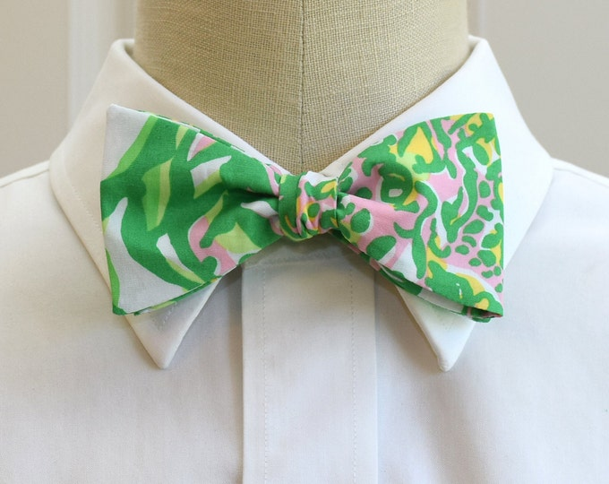 Men's Bow Tie, Seeing Pink Elephants print, green & pink bow tie, wedding bow tie, prom bowtie, Lilly bowtie, Carolina Cup bow tie, self tie