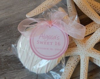 """Sweet 16 Birthday Thank You Favor Tags - For Cake Pops - Lollipops - Cookies - Desserts - Party Favors - (25) 1.5"""" Personalized Tags"""