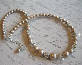 Swarovski Powder Almond Pearl and Rhinestone Bridal Necklace - Wedding Necklace - Bride or Bridesmaid Necklace - Choose your Color
