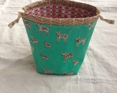 small knitting or crochet project bag - vintage tigers