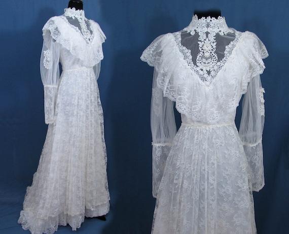 Vintage 70s Victorian Style Wedding Dress W/train Bridallure