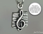 Miniature Music Charm Sterling Silver Treble Clef Musician Song Tiny