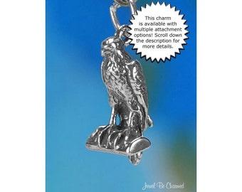Falcon Charm Sterling Silver Raptor Bird of Prey Peregrine Falcons