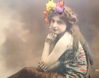 French Postcard - Girl with Flower Crown - Walery  - Paris - Long Hair - Antique Photo