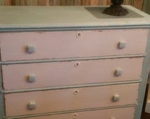 REDUCED/Vintage Milk Painted Distressed Four Drawer Dresser/Shabby Cottage Dresser/Chippy Turquoise Painted Dresser