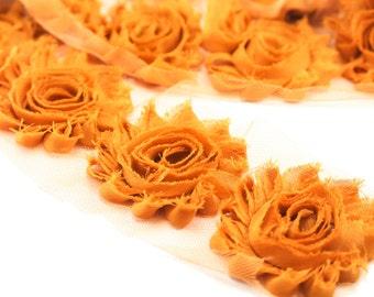 Mustard Gold- shabby flower trim by the yard - shabby rose trim - wholesale flower trim - shabby trim-rose trim-chiffon trim-you pick length