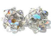 Vintage Cluster Clip On Earrings with Iridescent Aurora Borealis Glass Beads - Vintage Formal Jewelry