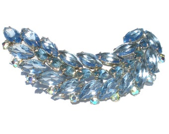 Vintage Rhinestone Brooch in Light Blue Leaf with Silver Rhodium Plating - Formal Vintage Costume Jewelry