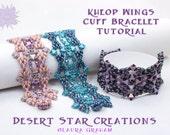 Kheop Wing Cuff Bracelet Tutorial, Superduo Design, O Bead Pattern, Beadweaving Bracelet Instructions, Two-hole Triangle SuperDuo Cuff Style