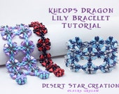 Kheops Dragon Lily Cuff Bracelet Tutorial, Two Hole Triangle Superduo Dragon Scales Pattern, Laura Graham Orig Design, PDF Instant Download