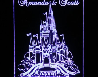 Fairytale Castle Wedding Cake Topper  - Engraved & Personalized - Light Extra