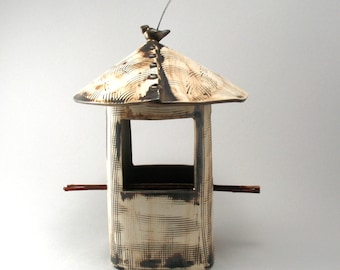 Bird Feeder-Pottery-Rustic Bird Feeder-Stoneware-Metallic Bronze Glaze-Bird-Ceramic Bird Feeder