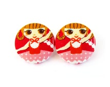 SALE Kawaii jewelry - large fabric earrings - big stud earrings - large button earrings - ballerina girl cute red pink happy
