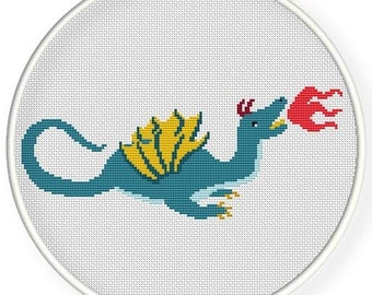 Instant download,free shipping,Cross stitch pattern, Cross-Stitch PDF,Dragon with fire ,zxxc0560
