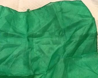 Vintage Silk Hankie Peacock Green Beautiful Solid Hankie Green Hankerchief