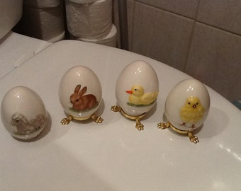 Vintage GOEBEL EASTER EGGS Set of Four 1978-1981 West Germany Chick Duck Bunny Lamb