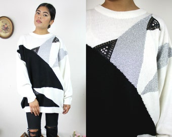 Vtg Comfy Oversized 80s Bold Black White Silver Abstract Modern Acrylic Sweater Sz Large