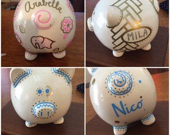 Custom Painted Piggy Bank