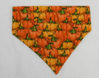 Living In a Patch! Thanksgiving Autumn Holiday Pumpkin Theme Bandana. Great for Dog Cat Ferret-Reversible.  2 in 1 Over the Collar Bandana.