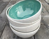 Wedding Registry for Mark and Jeannette *** Set of 4 ceramic bowl set of 4 serving soup salad bowl in white and turquoise glaze