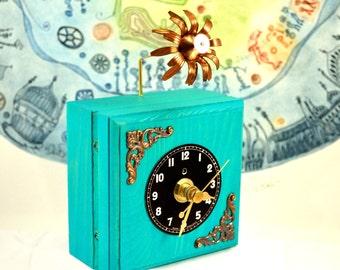 Small Desk Clock, Wood Clock, Bright, Colourful, Home Decor, Aqua Green Clock