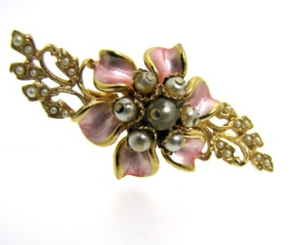 Florenza Pink Enamel Gold & Pearl Flower Brooch. Figural Corsage Lapel Pin. Vintage 1950s Collectible Costume Jewelry