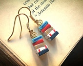 Stack of Books Earrings, Nautical Colours (Made to Order) - Book Jewelry by Coryographies