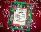 Grinch Christmas Card - With Envelope - Invitations - Thank You Card - Hand made