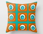 Blue Modern Pillow, Mid Century Modern Pillow, Modern Pillow,Retro Blue Throw Pillow, Mod Cushion, Modern Cushion, Retro Blue Throw Pillow
