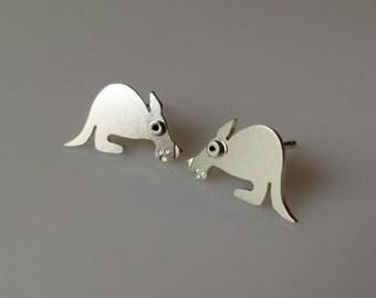 KANGAROO Stud Earrings Sterling Silver Mini Zoo