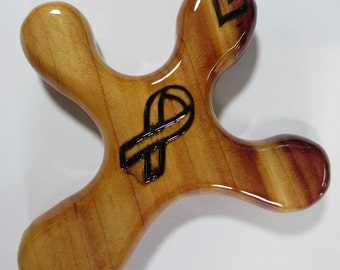 Medium Cedar Palm Cross with a Wood-burned Cancer Ribbon