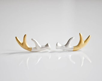 Gold and Silver Antler Post Earrings