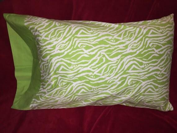 Cute Zebra Pillow : Cute lime green zebra pillow case 100% cotton Queen and