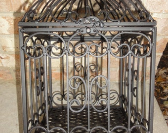 Vintage cast iron hinged top cage