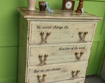 NAUTICAL OOAK Ivory Wood Distressed Dresser Rustic Vintage Shabby Chic Beach Cottage Salvaged Refinished Whagn