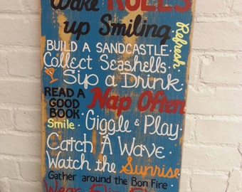 Beach Rules SIGN Subway Distressed Teal Handmade Hand-painted Wooden 12x24 WHAGN Made to Order