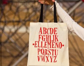 Ellemeno Alphabet Tote Bag (Red Print and Black or Natural Handle)