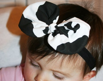 Cow Print baby Headband, Baby Headband,  Black White Headband,   Girls  headband, Newborn Headband,  Headband, Infant  Headband.