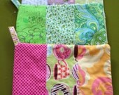Six Custom Potholders for Jennifer, Each Hand Pieced Using Five Different Fabrics