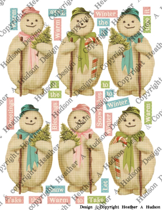 Pink Blue Green Victorian Vintage Holly Snowman Snowmen Christmas winter tags Candy cane Ornament  Digital Collage sheet Printable