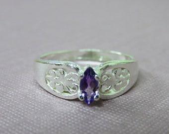 Amethyst Ring - Marquis Amethyst Sterling Silver Filigree Ring - Size 6 3/4 Ladies Amethyst Ring