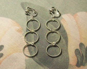 Triple Silver Spiral Hoop Clip On or Pierced Earrings