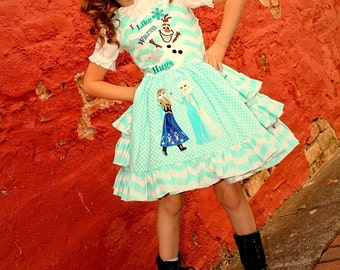 Girls Frozen Insprired Pageant, Party Dress, Birthday Party Dress, Frozen Dress