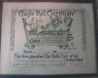 Cradle Roll Certificate 1927 Sunday School Certificate 1927
